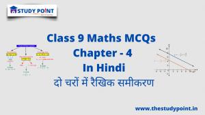 Class 9 Math MCQs Chapter 4 दो चरों वाले रैखिक समीकरण