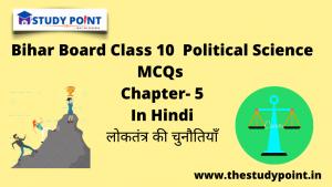 Bihar Board Class 10 Political Science MCQs Chapter –5